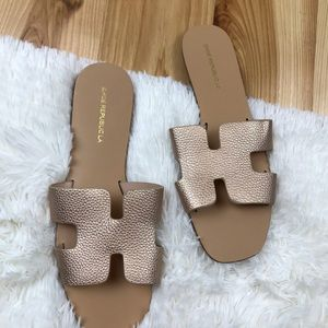 Shoe Republic LA gold Sandals